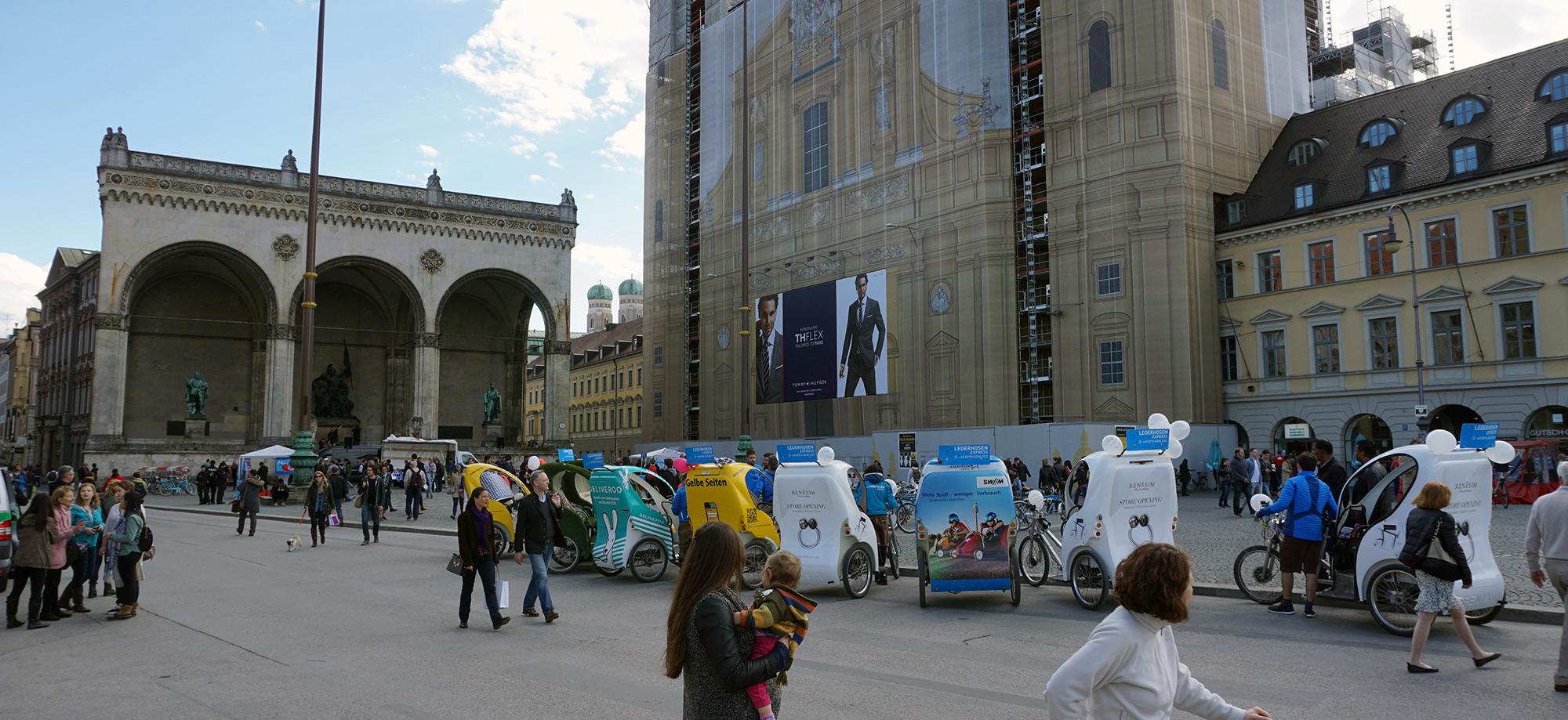 München Rikscha Werbung Hotspot